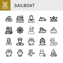 Sailboat Simple Icons Set