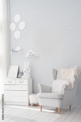 Obraz Pastel grey monochrome decoration. Unisex nursery gender neutral. calm color palette. Baby room in scandinavian style. - fototapety do salonu