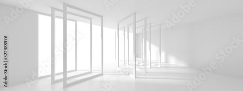 Fototapeta Futuristic Interior Design. White Room with Window. Minimalistic Abstract Architecture Background obraz
