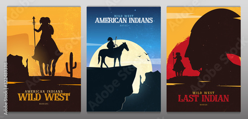 Set of Native American Indian with horse banners Wallpaper Mural