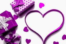 Heart Made Of Bright Purple Ri...