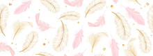 Luxury Seamless Pattern Background With Gold And Pink Feather Vector Illustration.