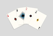 Realistic Four Ace Playing Card Isolated On White Background. Poker Game Aces Of Different Stripes Vector Flat Illustration. Gamble Chance Winner Four Of A Kind Combination. Winning Poker Hand