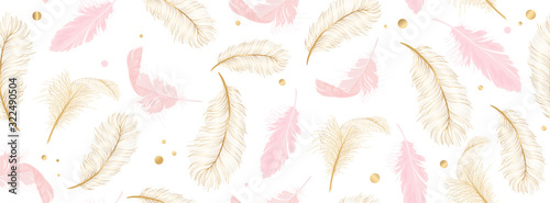 Fototapeta Luxury seamless pattern background with gold and pink feather vector illustration.  obraz