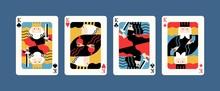 Collection Of Various King Playing Cards Vector Flat Illustration. Colorful Gamble Symbol Graphic Design Isolated. Four Of A Kind Combination, Winner Poker Hand