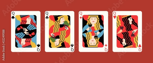 Fotografia Collection of cartoon different suits playing card queen isolated on red background