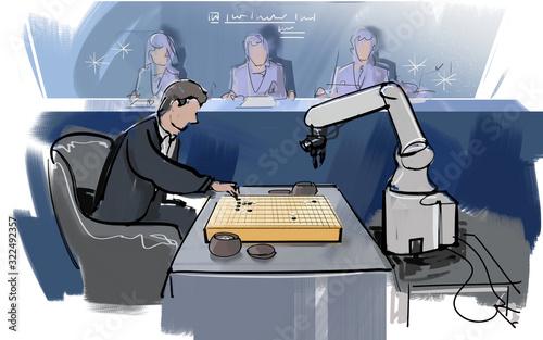 人間とコンピューターAIで盤上ゲーム Tapéta, Fotótapéta