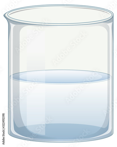 Transparent beaker with clear water on white background Wallpaper Mural