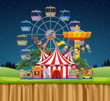 Circus Scene With People On Th...