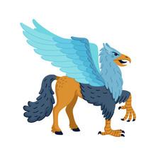 Magical Creatures Set. Mythological Animal - Hippogriff. Flat Style Vector Illustration Isolated On White Background.