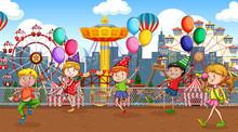 Scene With Many Children Playi...
