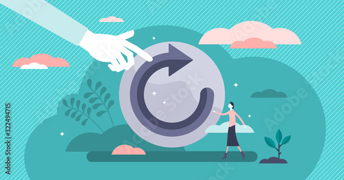 Refresh concept, flat tiny person vector illustration Fotobehang