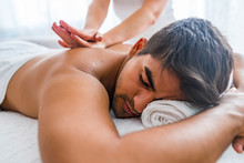 Man Having Massage In Spa Salo...