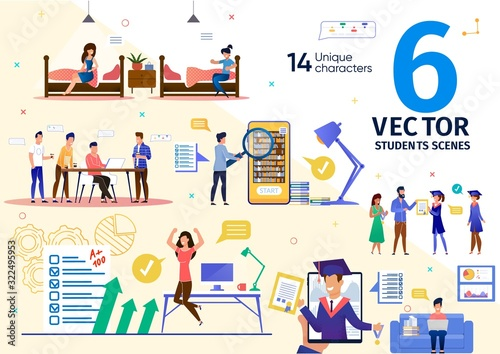 College or University Students Daily Routines Trendy Flat Vector Scenes Set Wallpaper Mural