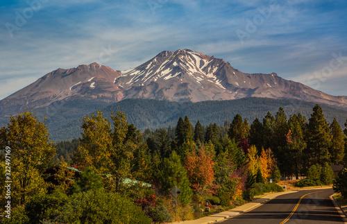 Road through Mt Shasta, Northern California