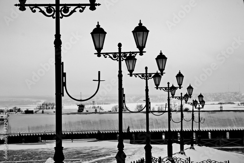 Street lamps on a cloudy day.