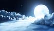 Leinwandbild Motiv Night sky with clouds and shiny moon