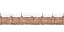 Old Barbed Wall Isolated On A White. 3d Illustration