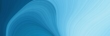 Artistic Horizontal Header With Steel Blue, Sky Blue And Light Blue Colors. Dynamic Curved Lines With Fluid Flowing Waves And Curves
