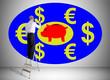 Leinwanddruck Bild - Saving money concept drawn by a man on a ladder