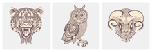 Set Of Hand Drawing Tattoo Animals - Tiger, Owl And Ram