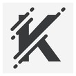 Vector illustration Initial Letter K abstract technology logo. Typography digital space concept.