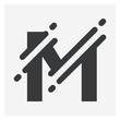 Vector illustration Initial Letter M abstract technology logo. Typography digital space concept.