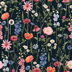 Fototapeta Vintage Beautiful vector floral summer seamless pattern with watercolor hand drawn field wild flowers. Stock illustration.