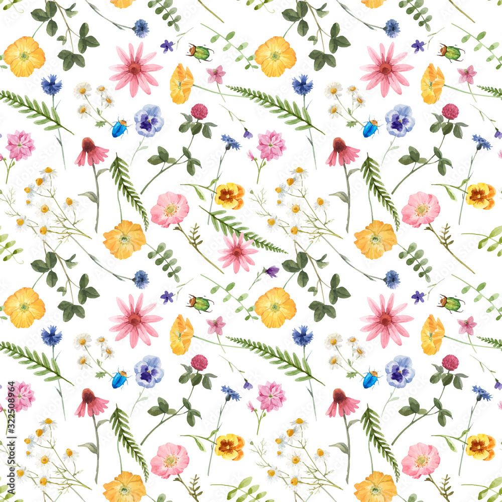 Fototapeta Beautiful vector floral summer seamless pattern with watercolor hand drawn field wild flowers. Stock illustration.
