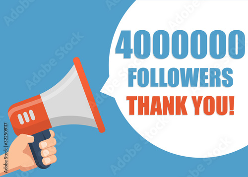 Obraz na plátně 4000000 followers Thank You - Male hand holding megaphone