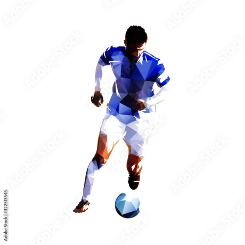 Carta da parati Soccer player running with ball, low poly isolated vector drawing, geometric foo