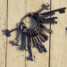 Antique Copper Keys On Old Woo...