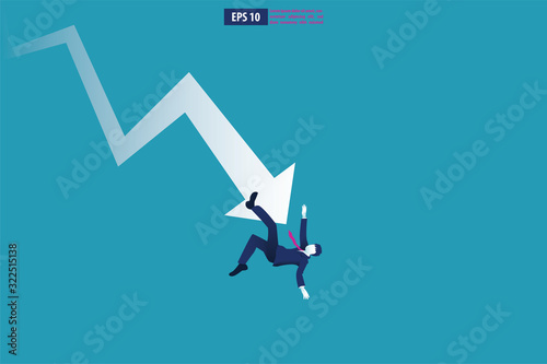 Fototapeta Bankruptcy vector illustration  concept. Businessman with broke company. global financial crisis with arrow decrease symbol. economy drop, lost,and bankrupt obraz