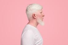 Bearded Albino Man In White T-...