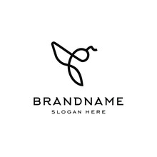 Bee Logo Bumblebee Icon Illustration In Trendy Line Linear Outline Style