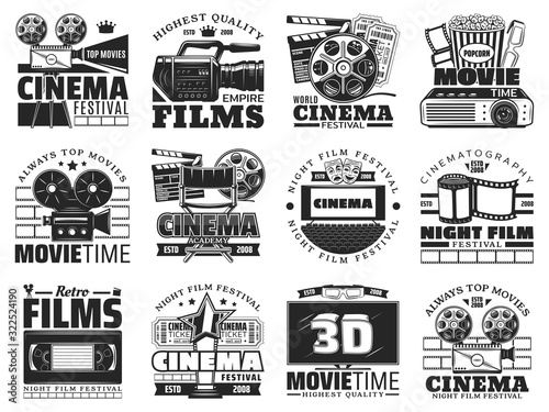 Fototapeta Cinema and movie theater vector icons. Film reel, popcorn and 3d glasses, tv set, camera and cinema tickets, director chair, clapperboard and videotape monochrome emblems and symbols design obraz