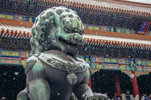Traditional Lion Sculpture In Front Of Gate Of Supreme Harmony In Forbidden City, Main Tourist Attraction In Beijing, Capital City Of China