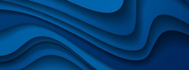 Dark blue paper waves abstract banner design. Elegant wavy vector background