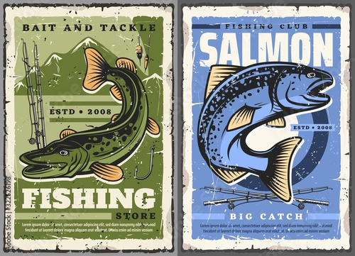 Fishing sport vector design with fisherman rods, salmon fish and pike, hook, float and bobber, mountain lake and river Fototapet