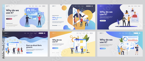 Obraz Team working together set. Managers analyzing charts, consulting expert online, planning tasks. Flat vector illustrations. Business, teamwork concept for banner, website design or landing web page - fototapety do salonu