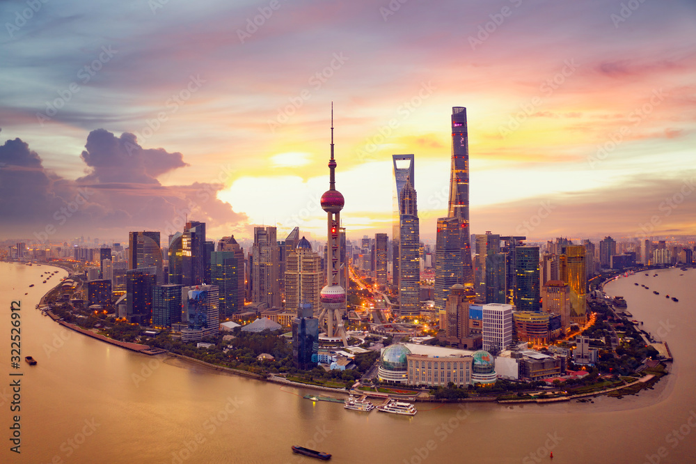 Fototapeta Sunset and  Cityscape of Shanghai,