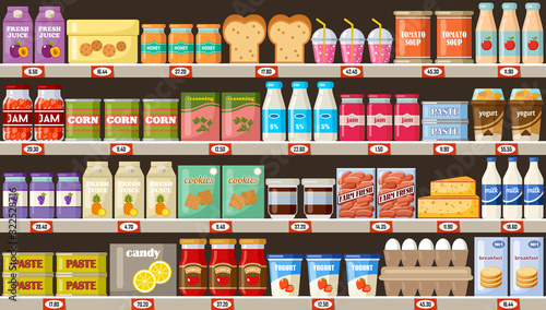 Supermarket, shelves with products and drinks #322528716