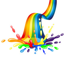 Bright Rainbow And Colorful Splash With Drops On A White Background.