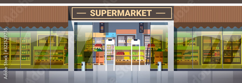 Fotomural modern supermarket retail store with assortment of groceries grocery shop exteri