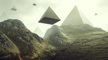 Rocky Hills With Floating Alien Geometric Pyramid Shapes 3d Rendering 3d Illustration