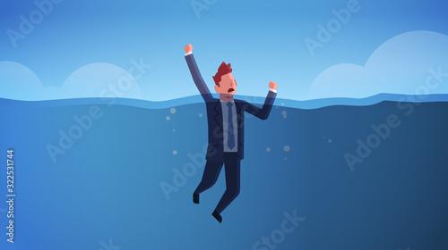 drowning businessman raising his hands out of water insolvency failure crisis ba Slika na platnu
