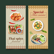 Thai Food Flyer Design With Massaman Curry, Grilled Chicken Illustration Watercolor.