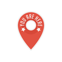 Red Pin Location Sign With Text You Are Here. Marker Locations Icon. Map Pointer Symbol Isolated On White Background. Vector Illustration EPS 10.