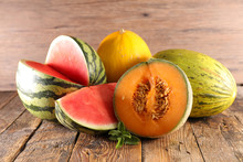 Various Of  Melon And Waterlon On Wood Background