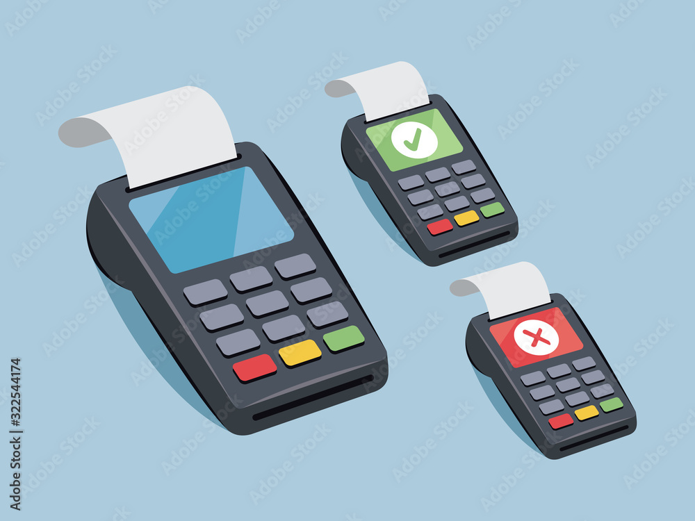 Fototapeta Payment terminal - credit card payment - vector cartoon illustration